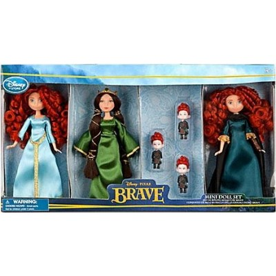 Disney / Pixar BRAVE Movie Exclusive 6 Piece Mini Doll Set 2x Merida, Queen Elinor Triplet Brothers