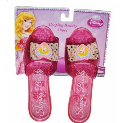 Disney Princess Collection Sleeping Beauty Shoes Slippers Clear Pink with Sparkles for Children to Dress up As Favorite Princess (1 Pair)