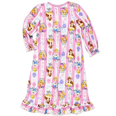 Disney Princess Girls Flannel Granny Gown Nightgown Pajamas (10, Portrait Pink/White)