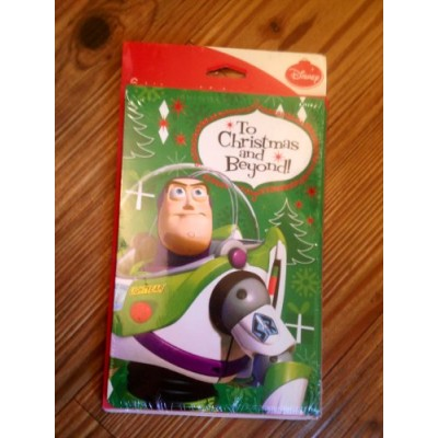 "Disney Toy Story Buzz Lightyear ""To Christmas and Beyond"" 6 Cards and Envelopes ""Wishing You a Joyful, Toyful Christmas!"""