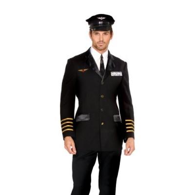 Dreamgirl Men's Mile High Pilot Hugh Jordan Costume, Black, Medium