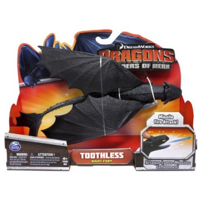 Dreamworks Dragons Defenders of Berk Action Dragon Figure, Missile Shooting Toothless Night Fury