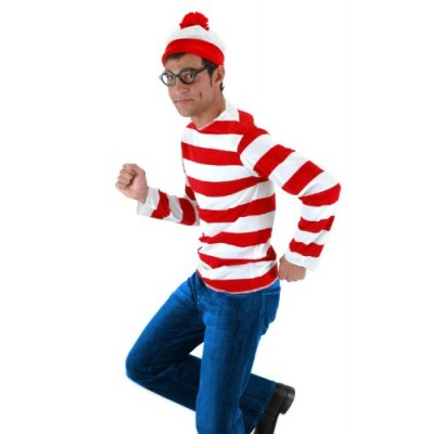 elope Where's Waldo Adult Costume Kit, Red/White, Small/Medium