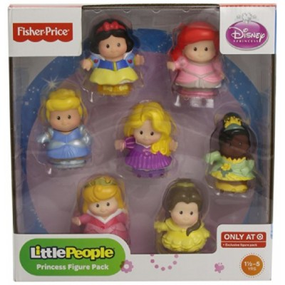 Fisher-Price Little People Disney Princess Figures: Cinderella, Ariel, Rapunzel, Tiana, Belle, Snow White, & Aurora