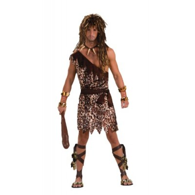 Men's Stone Age Style Cave Stud Costume, Animal Print, One Size
