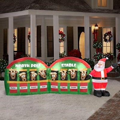 Gemmy Inflateables Holiday G08 89984 Air Blown Santa In Stable with 8 Reindeers Giant Decor