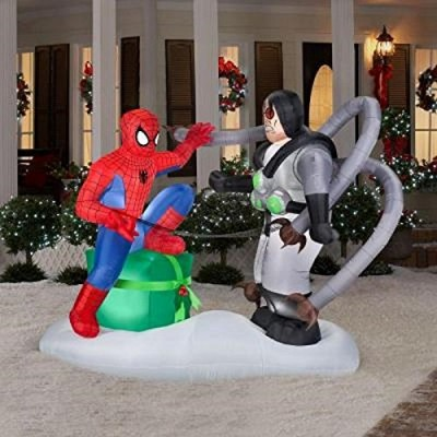 CHRISTMAS INFLATABLE 6 FT TALL X 7 FT WIDE SPIDERMAN VS DR OCTO MARVEL COMICS