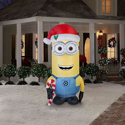 """Minion Kevin with Candy Cane and Santa Hat Christmas Airblown Inflatable 96"""" Tall"""