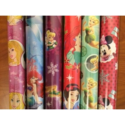 4 PACK: Disney PRINCESS & MINNIE MOUSE Christmas Wrapping Paper (ROLLS MAY VARY)