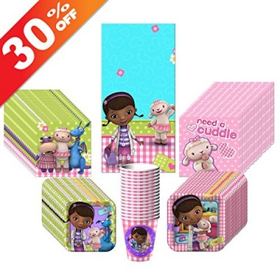 Doc McStuffins Party Kit Including Plates, Cups, Tablecover and Napkins - 16 Guests
