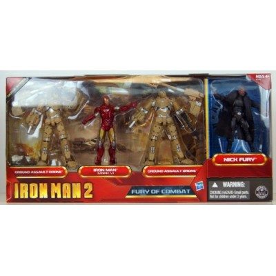 Iron Man 2 Movie Series Exclusive 3.75 Inch Action Figure 4Pack Fury of Combat Ground Assault Drone, Iron Man Mark VI, Ground Assault Drone Nick Fury
