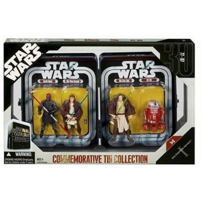 Star Wars Episode 1 The Phantom Menace Commemorative Tin Collection with R2-R9, Darth Maul, Obi Wan Kenobi & Qui Gon Jinn RARE