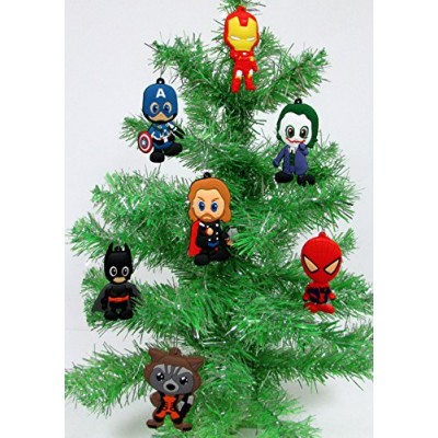 Comic Book Holiday Super Hero Christmas Ornament Set - Unique Shatterproof Plastic Design