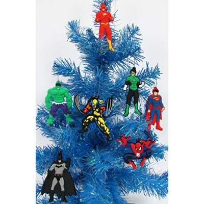 Super Hero 7 Piece Christmas Ornament Set with Flash, Hulk, Green Lantern, Batman, Superman, Spiderman, and Wolverine - Unique Shatterproof Plastic...