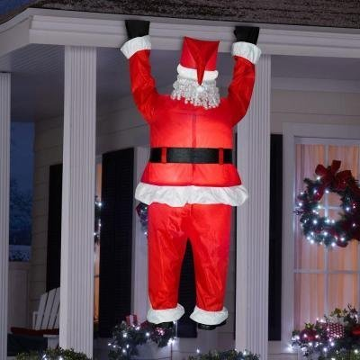 Home Accents Holiday 6.5 ft. Inflatable Airblown Santa Hanging from Roof