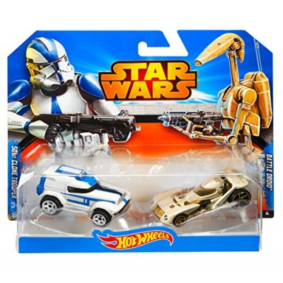 Hot Wheels Star Wars Character Car 2-Pack, 501st Clone Trooper vs. Battle Droid