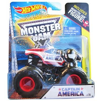 Monster Jam Captain America includes Monster jam figure #78 hot wheels off-road