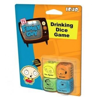 ICUP Family Guy Drinking Dice Drinking Game Glass, Clear