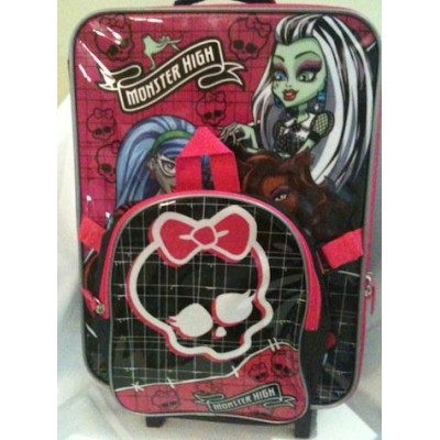 Monster High Kids Backpack and Rolling Luggage - Perfect for Sleepovers or Travel!