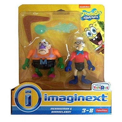 Imaginext, SpongeBob Square Pants Exclusive Figures, Mermaidman & Barnacleboy, 2-Pack
