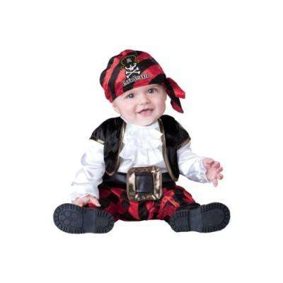 InCharacter Costumes Baby's Cap'N Stinker Pirate Costume, Black/Red, X-Small