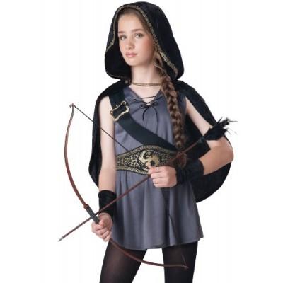 InCharacter Costumes Tween Kids Hooded Huntress Costume, Grey/Black, S (8-10)