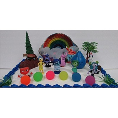 Disney Pixar INSIDE OUT 22 Piece BIRTHDAY CAKE Topper Set Featuring Joy, Sadness, Anger, Fear, Bing Bong, Disgust, Jangles the Clown and Other Figu...