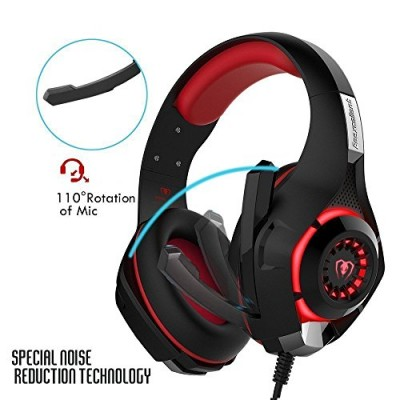 Gaming Headset, Over-Ear Gaming Headphones with Volume Control USB 3.5mm Noise Cancelling Earphones Built-in Mic Stereo Bass LED Light for PS4 PC T...