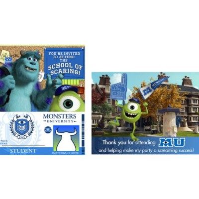 Disney Monsters U Invitations & Thank-You Postcards (8 each)