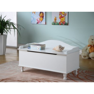 King's Brand R1018 Wood Storage Bench Toy Chest, White Finish