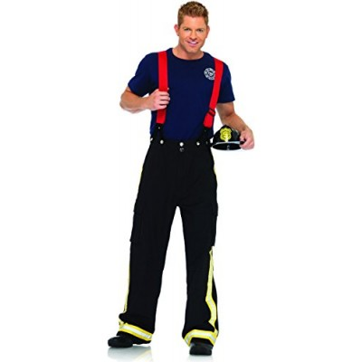 Leg Avenue Men's 3 Piece Fire Captain Costume, Black/Red, Medium/Large