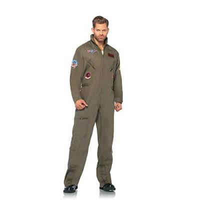 Leg Avenue Men's Top Gun Flight Suit Costume,  Khaki/Green, Small/Medium