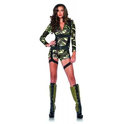 Leg Avenue Women's 2 Piece Goin' Commando Military Costume, Camo, Small