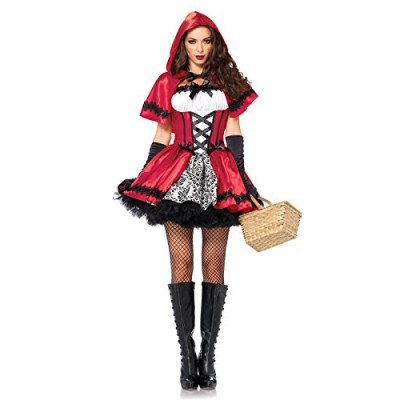 Leg Avenue Women's 2 Piece Gothic Red Riding Hood Costume, Red/White, Small