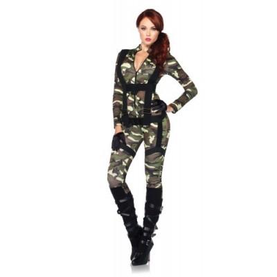 Leg Avenue Women's 2 Piece Pretty Paratrooper Costume, Camo, Small