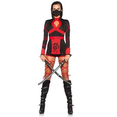 Leg Avenue Women's 3 Piece Dragon Ninja Costume, Black/Red, Small