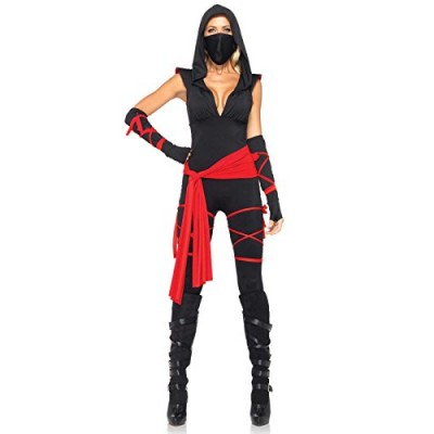 Leg Avenue Women's 4 Piece Deadly Ninja Costume, Black/Red, Small