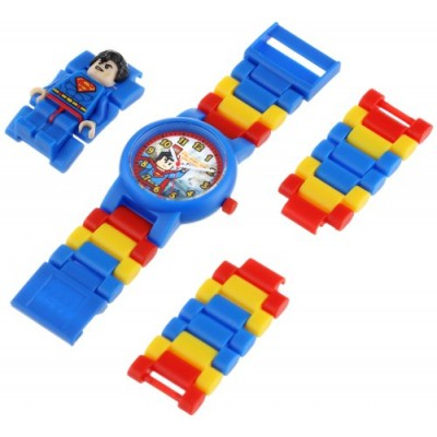 LEGO Kids' DC Universe Super Heroes Superman Plastic Watch with Link Bracelet and Character Figurine