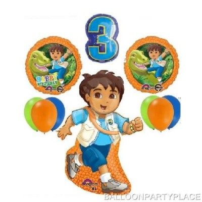 DELUXE GO DIEGO 3RD BIRTHDAY BALLOONS party supplies THIRD decorations dinosaur