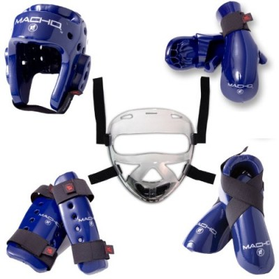 Macho Dyna 8 piece sparring gear set with shin guards and face shield blue child small