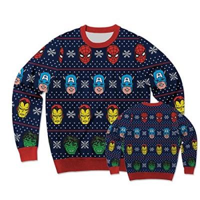 Marvel Avengers Festive Team Ugly Sweater Christmas Edition Crewneck Sweatshirt (Large)
