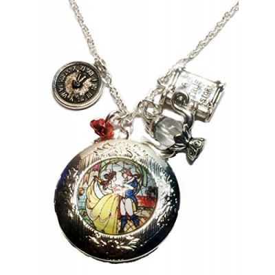 "Beauty and the Beast Silvertone Charm Pendant LOCKET on 18"" Silvertone Chain"