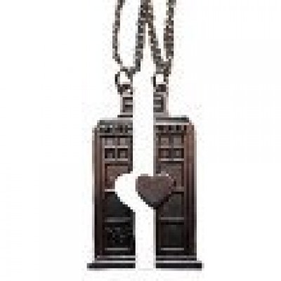 Doctor Who SET of 2 Split TARDIS POLICE BOX BFF Heart NECKLACES