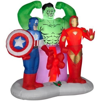 Christmas Inflatables Outdoor Airblown Lighted Marvel Avengers Assemble Scene 6 ft x 5½ ft x 3½ ft