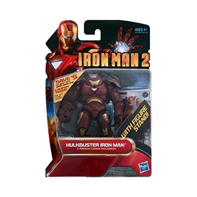 Iron Man 2 Movie Series 4 Inch Tall Action Figure Set #27 - HULKBUSTER IRON MAN with Figure Display Stand Plus 3 Armor Cards