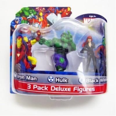 "Marvel 3 Pack Deluxe 4"" Figures Avengers - Ironman / Hulk /Black Widow"