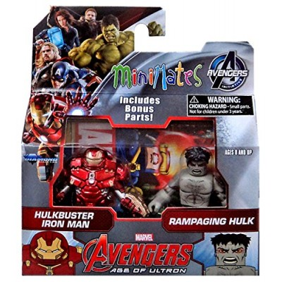 "Marvel Avengers Age of Ultron Minimates Series 63 Hulkbuster Iron Man & Rampaging Hulk 2"" Minifigure 2-Pack"