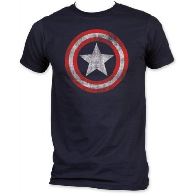 MARVEL CAPTAIN AMERICA DISTRESSED SHIELD S/S JERSEY T-SHIRT (Small)