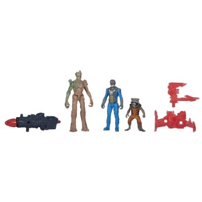 Marvel Guardians of The Galaxy Groot, Rocket Raccoon and Nova Corps Officer Figure