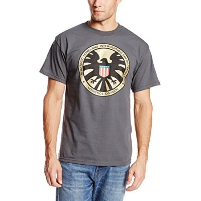 Marvel Men's Madallion T-Shirt, Charcoal, Small